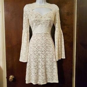 BCBGMaxAzria | Medina Lace Bell Sleeve Dress L
